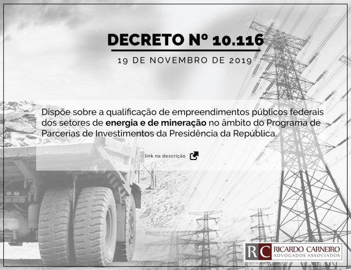 DECRETO Nº 10.116, DE 19 DE NOVEMBRO 2019