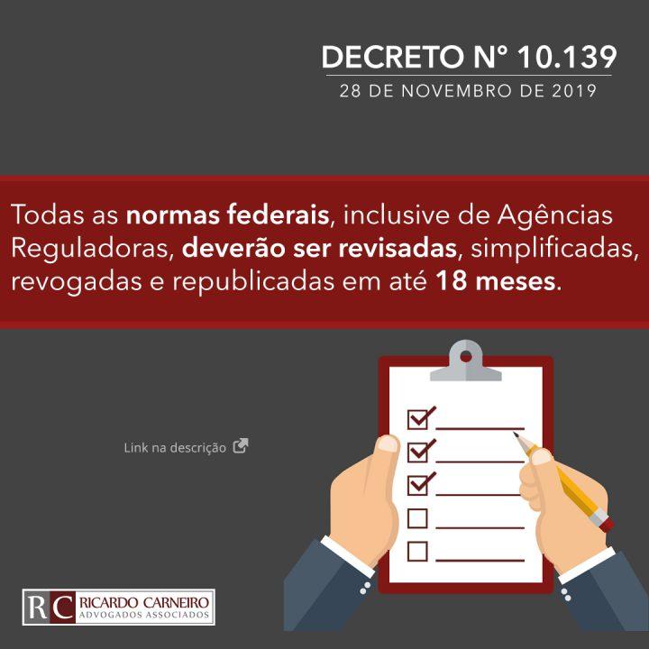 DECRETO Nº 10.139, DE 28 DE NOVEMBRO DE 2019