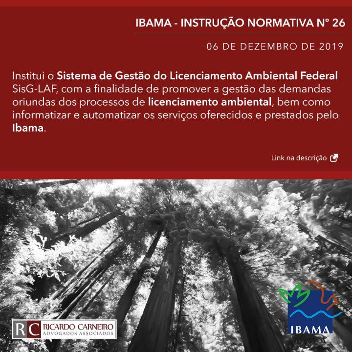 IBAMA – INSTRUÇÃO NORMATIVA Nº 26, DE 6 DE DEZEMBRO DE 2019
